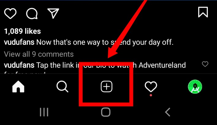 To upload a feed video on Instagram, select the '+' on the lower middle of the screen