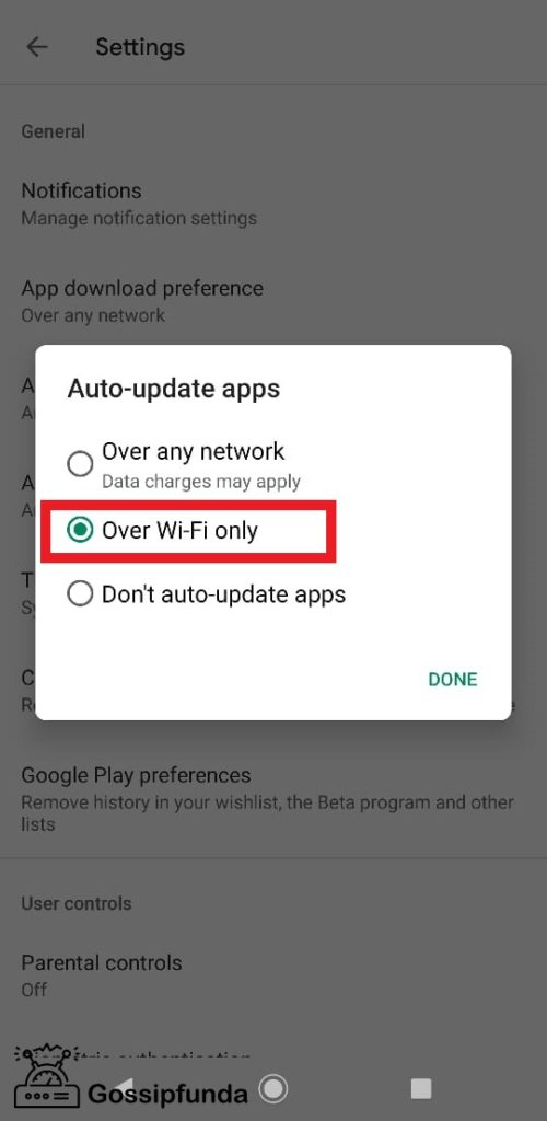 Over Wi-Fi only