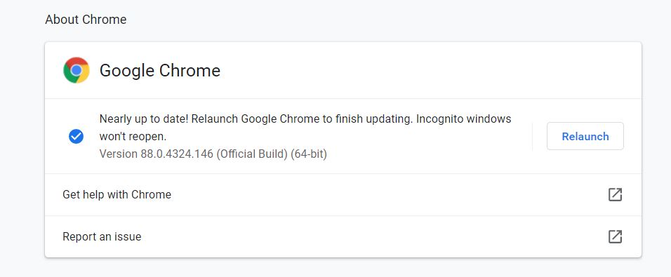 What to do if Chrome is not updated?