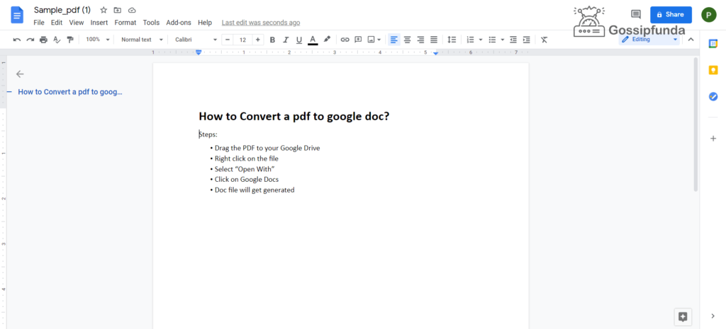 file gets converted into an editable doc file