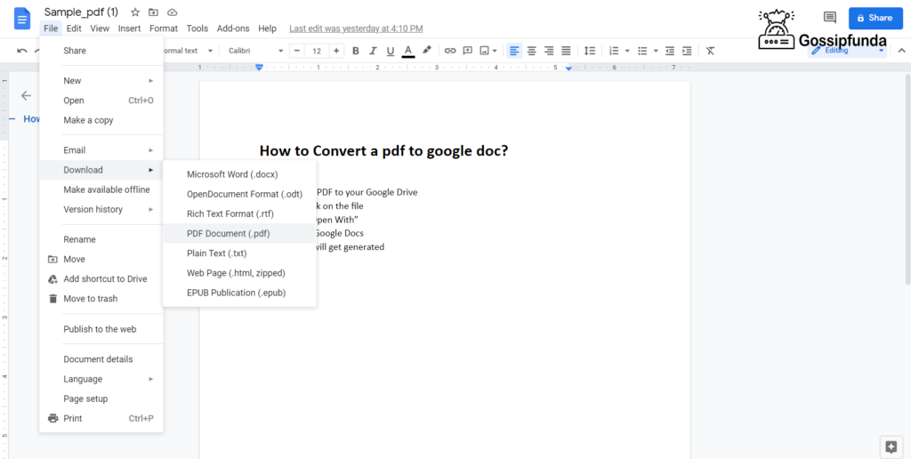 How to Convert a Google Doc to pdf