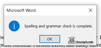 spelling and grammar check is complete