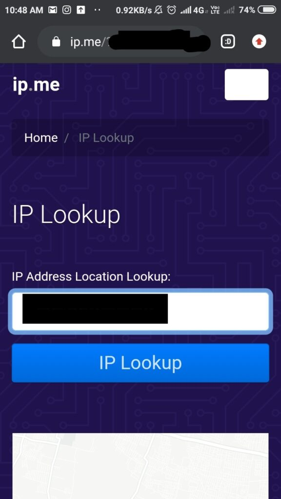ipconfig android through ip.me
