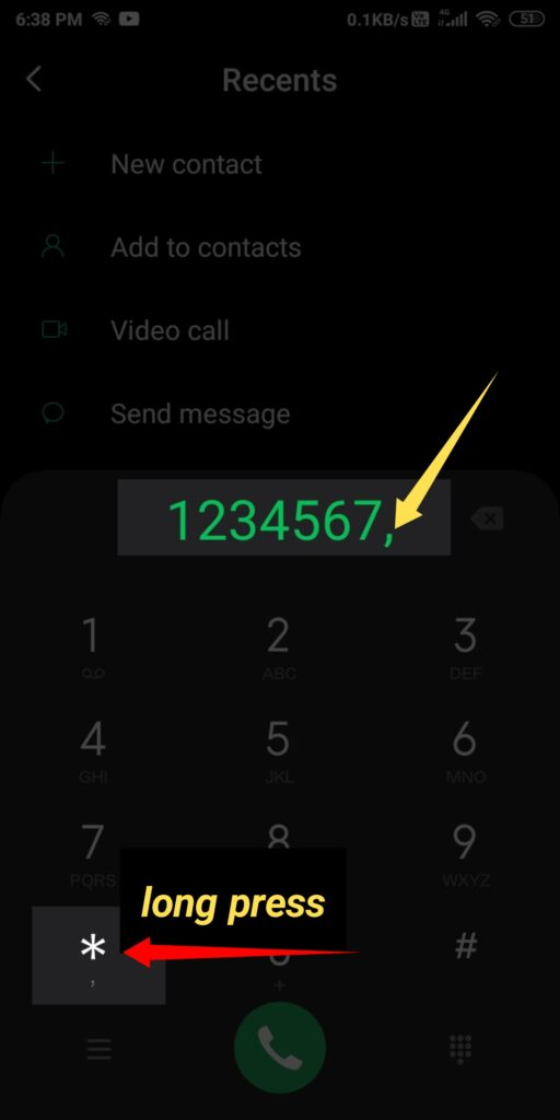 Calling a number with an extension in iPhone